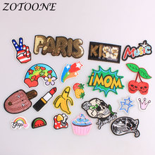 ZOTOONE Iron on Patches Letter Animal Cat Punk Skull Sequin Embroidered for Clothing Flower Patch Clothes Decoration E