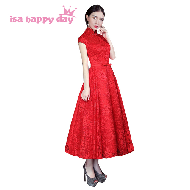 new arrival formal women modest high neck puffy mid length bridesmaid  dresses bride maid dress with sleeves for weddings H3929-in Bridesmaid  Dresses ...