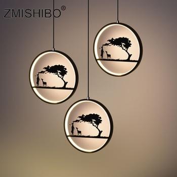 ZMISHIBO Romantic LED Pendant Lamp 110-240V Iron Black White Deer Totoro Home Decor Animal Pendant Lights Living Room Lighting