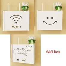Multifunction Shelf Wireless Wifi Router Box PVC Wall Shelf Hanging Plug Board Bracket Storage Box Bins Smile Cat Pattern