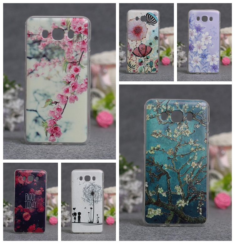 New Abstract Flower Painting Clear Soft Silicone Capa Case For Samsung Galaxy J7 2016 J710 J7 (2016) Cartoon Fundas Phone Cases