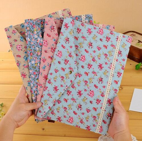 1pcs/lot Vintage A4 Documents File Bag Felt Cotton File Bags Dots Garden Flower Lace File Folder Stationery Filing Production Superior Performance