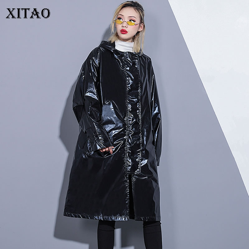 [XITAO] Spring Summer 2019 New Arrival Casual Fashion Loose Single Breasted Hooded Patchwork Lettrer Match All   Trench   ZQ1118