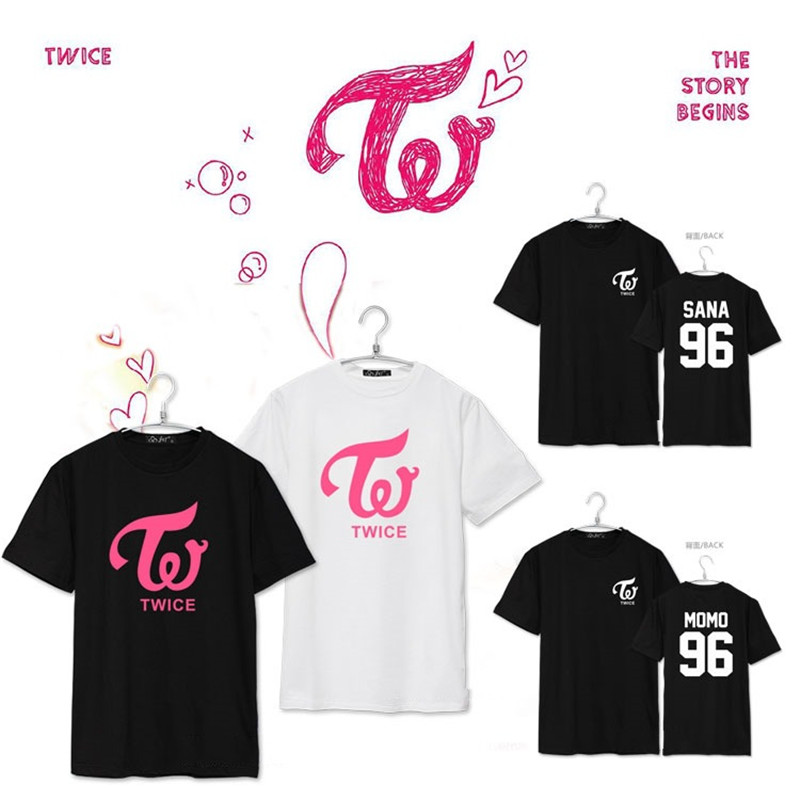 KPOP TWICE CHEER UP MOMO SANA MINA Album Shirts K-POP 2016 Casual Cotton Tshirt T Shirt Short Sleeve Tops T-shirt DX265