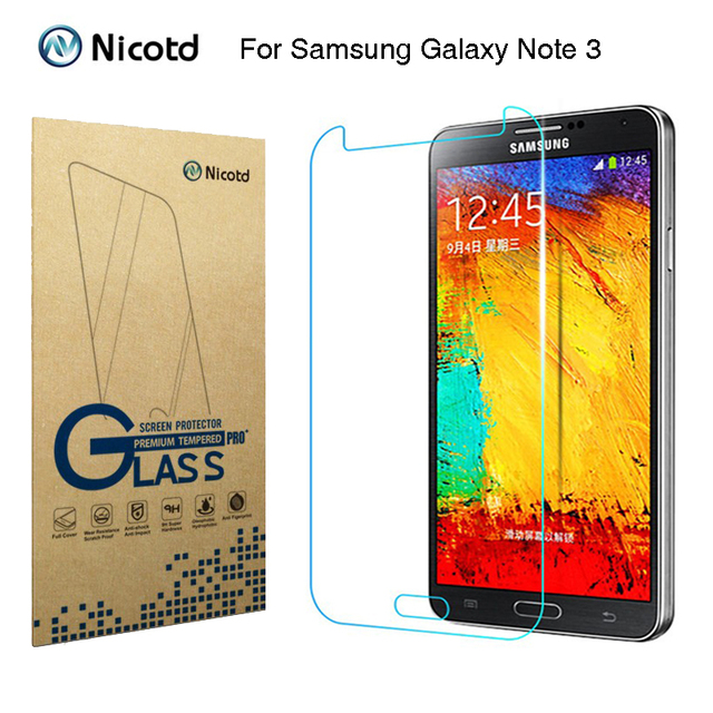 "Nicotd 2.5D Tempered Glass For Samsung Galaxy Note 3 III N9000 N9005 5.7"" Anti Shock Toughened Screen Protector Protective Film"