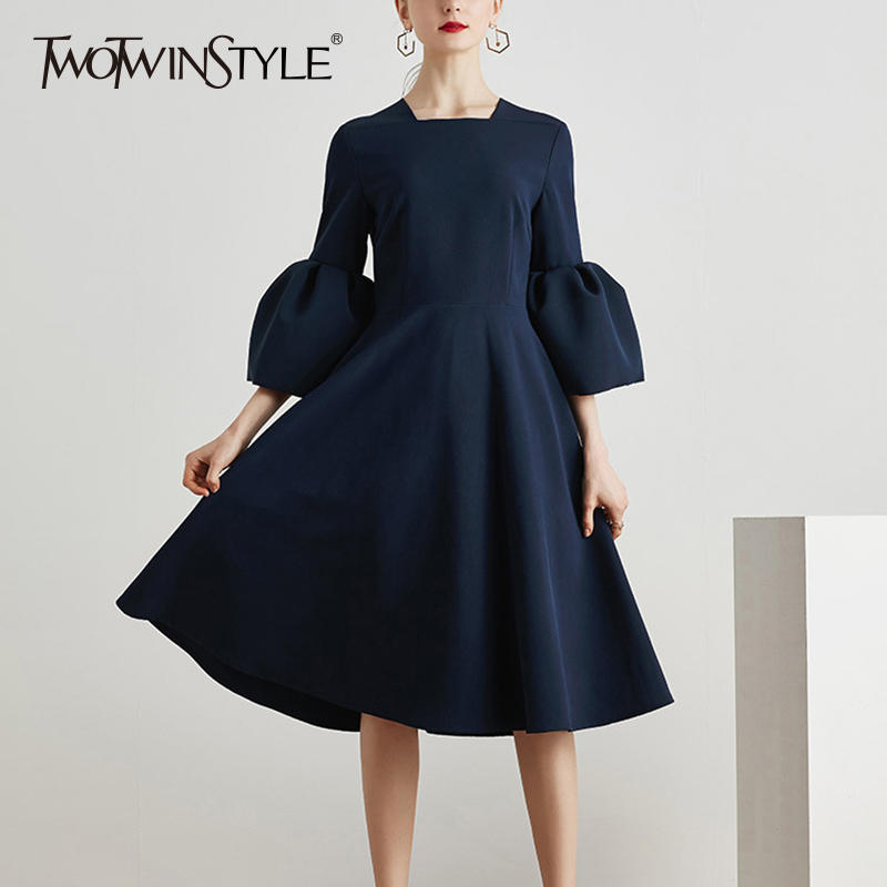 TWOTWINSTYLE Ruffles Dress For Women Flare Sleeve Tunic High Waist Square Collar Draped Long Dresses Spring