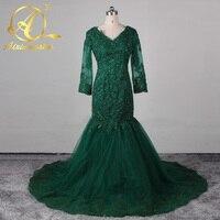 Elegant Long Sleeves Teal Green Evening Dresses 2016 Cap Sleeve V Neck Mermaid Prom Dress Court Train Formal Women Party Gown