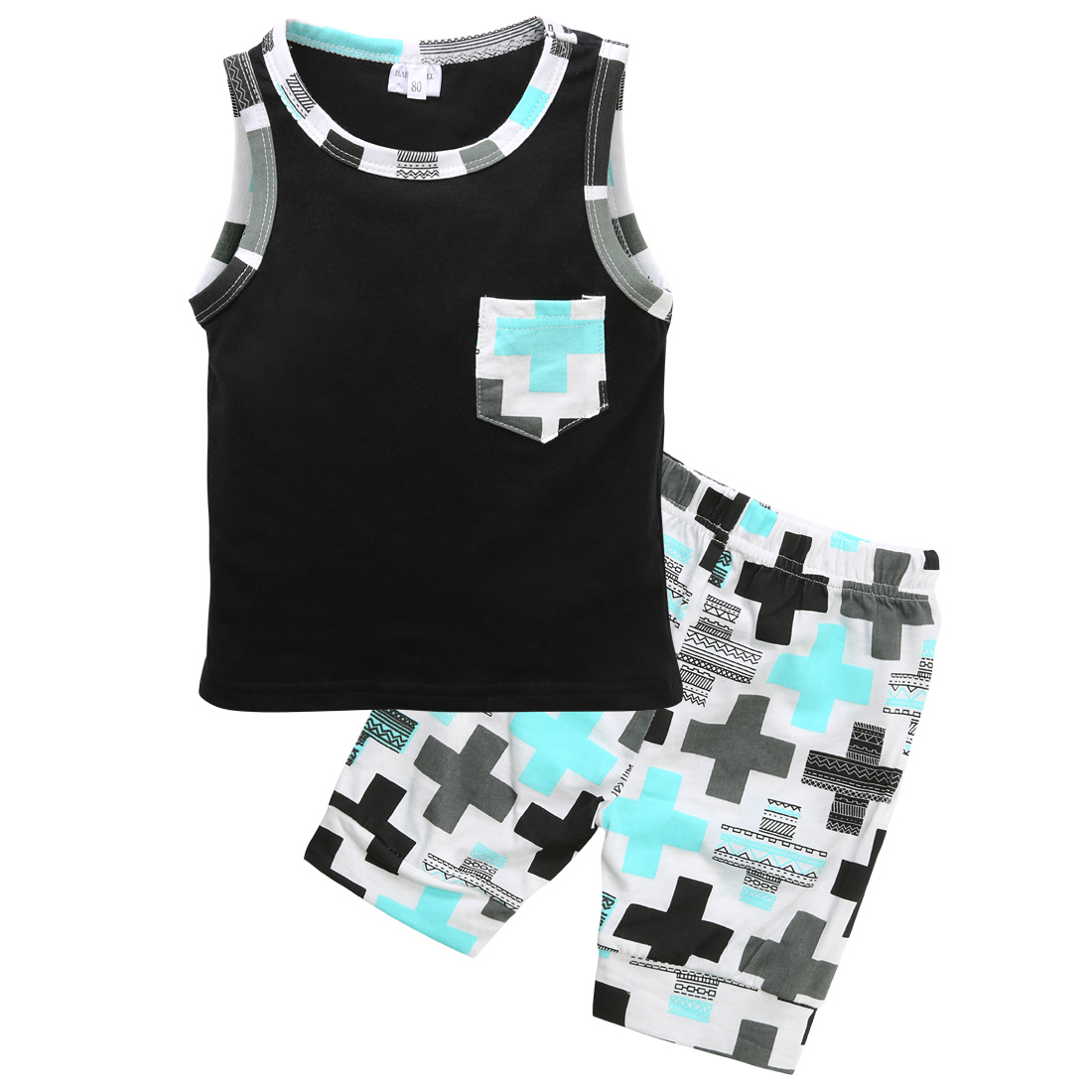 2Pcs Fashion  Newborn Toddler Baby Clothes Boys Kids Print Pocket Cotton Vest Top +Pants Oufits 1-3Y