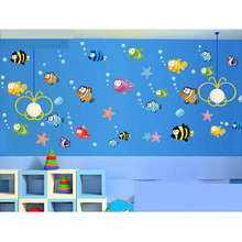 Cute Cartoon Fishes Wall Sticker Baby Room Bathroom Nursery Kids Decor Decal Lovely