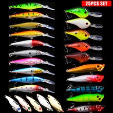 цена на 25PCS Lure Kit Mixed Artificial Bait 5pcs Mini Minnow 5pcs Long Popper 5pcs Spoon 10pcs Long Minnow Fishing Tackles