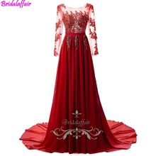 Free Shipping Red A-line Long Prom Dresses Chiffon Floor-length Fashion Sleeve Evening Appliques Lace Gowns