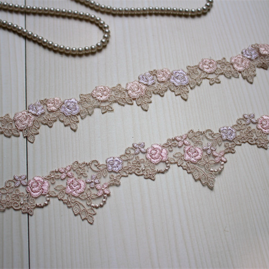 4yards/lot Diy Craft Rose Embroidered Lace Trim in  Lt.Pink+Lt.Purple+Khaki,Organza Lace Trim Lace Ribbon Lace Garden-in Lace  from Home & Garden on ...