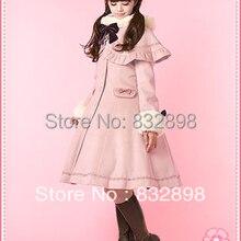 Лидер продаж, японское недорогое розовое шерстяное пальто в стиле Лолиты с капюшоном на заказ, зимнее пальто для девочек, брендовый длинный Зимний плащ
