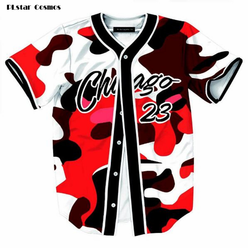 PLstar Cosmos Mens Buttons Open Red Camouflage Cardigan T shirts Summer Short Sleeve No. 23 Chicago Streetwear Camisetas Hombre