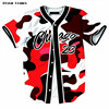 PLstar Cosmos Mens Buttons Open Red Camouflage Cardigan T Shirts Summer Short Sleeve No 23 Chicago