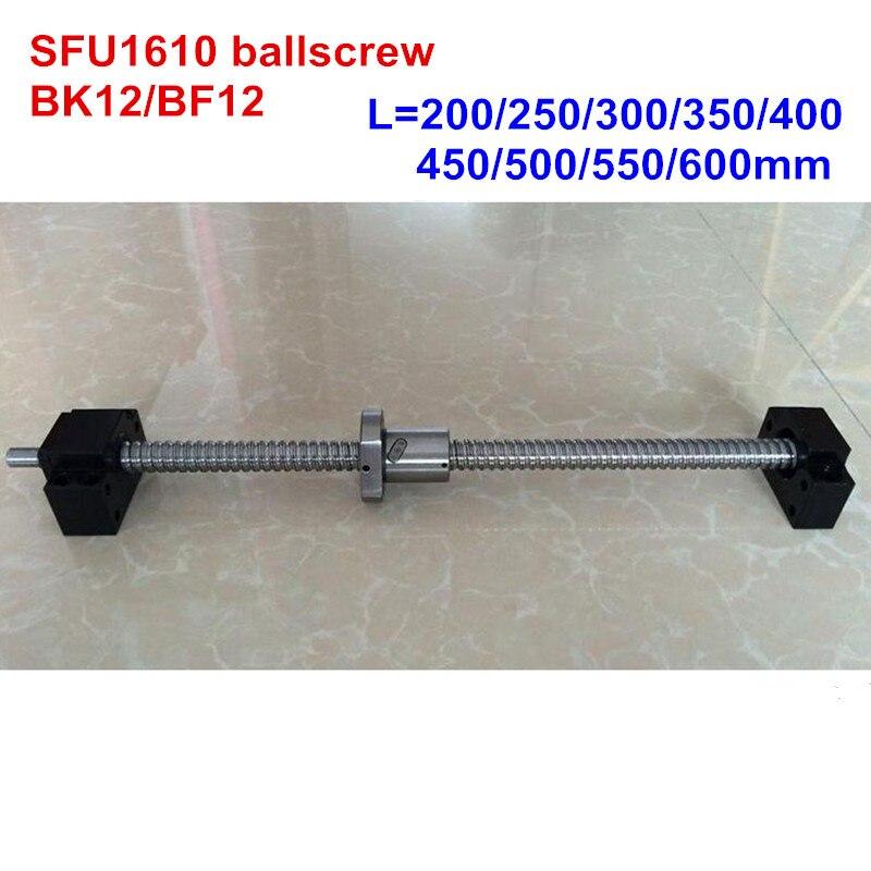 SFU1610 200 250 300 350 400 450 500 550 600 мм ballscrew BK12/BF12 ЧПУ части