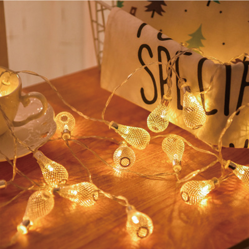 20 Leds String Light Battery Operated Christmas Garland Light Fairy Xmas Wedding Festival Home Decoration Hollow Pendant