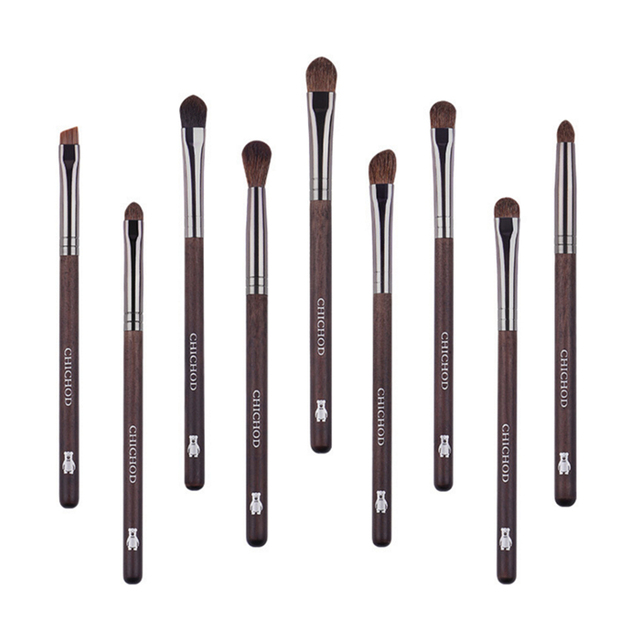 Professional 9Pcs Eye Makeup Brush Set Natural Pony Hair Eyeshadow Smoky Blending Eyebrow Buffer Make up Pencil Concealer Brush 5