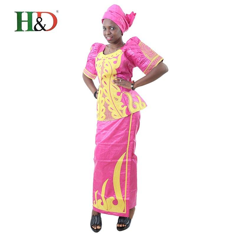 H & D african bazin for kvinner klær 2017 broderi Tradisjonell jupe - Nasjonale klær - Bilde 2