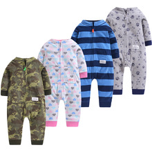 hot deal buy newborn 9-24m baby boys 2019 spring baby rompers soft baby boys romper warm fleece baby jumpsuit for kids boys costumes