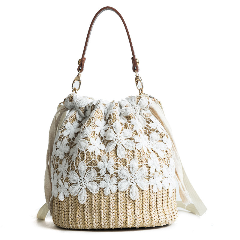 New Women Bucket Bags Lace Flowers Top Handle Straw Bag Wheat-straw Woven Ladies Shopping Bags Beach Casual Tote bag sac a main