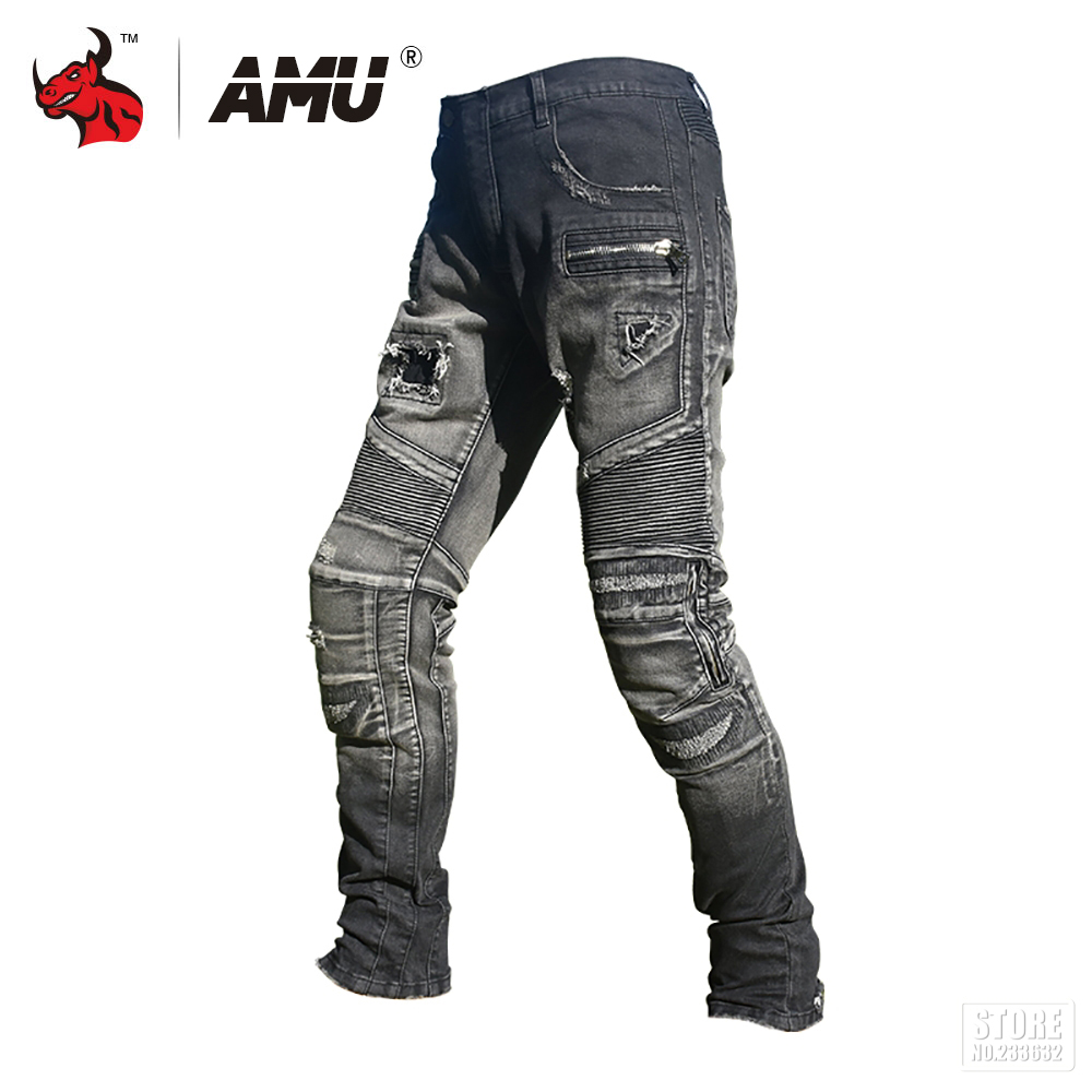 AMU Motorcycle Jeans Pants Motorcycle Riding Racing Moto Pants Motorbike Motocross Trousers Protective Gear