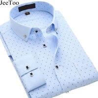2016 New Arrival Men Shirt Cotton Casual Shirts Fashion Print Camisa Social Luxury Brand Blue Shirts