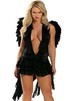 Adult Sexy Black Angel Fancy Dress Costume For Women Halloween Party Cosplay 8841