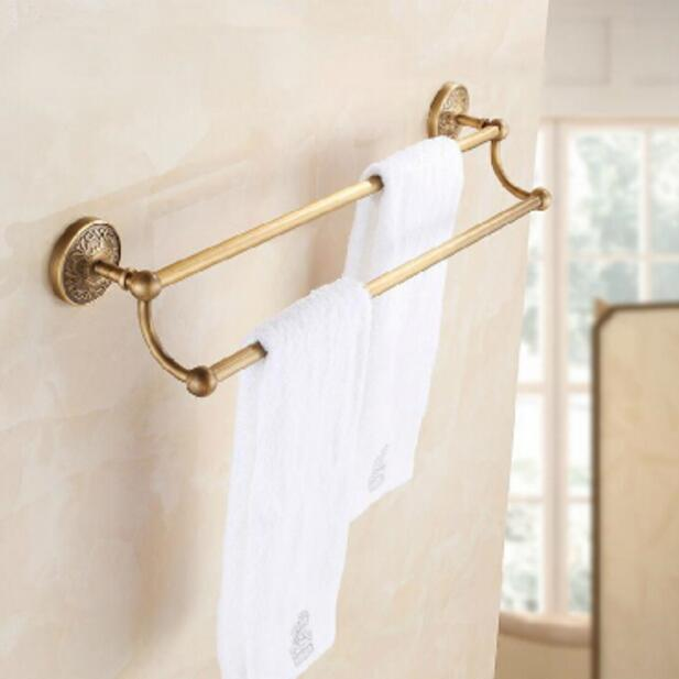 High Quality Antique wall mounted 24 inch Double Towel Bar Brass Material Towel Holder Bathroom Towel Rack,Bathroom accessories wall mount artistic double towel bar antique brass bathroom good quality dual bar towel holder