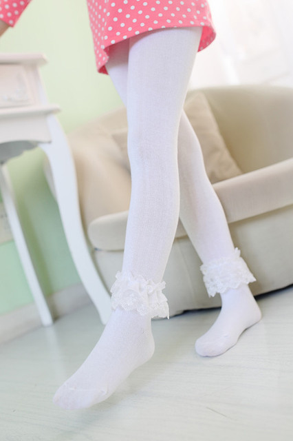c09aac5f14f64 Lace Flower Soft Cotton Long Socks Without bone Children pantyhose girls  bottoming socks white pink black
