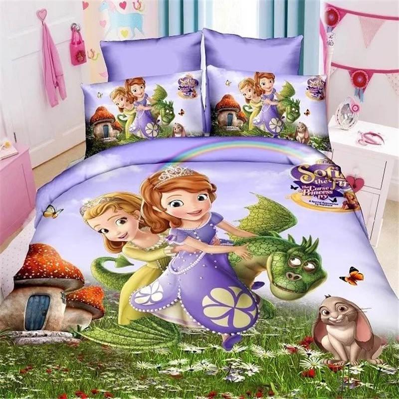 Sofia la première literie taille unique lit draps ensemble pour filles chambre décor jumeau couette housse de couette ensemble enfants chambre couvre-lit draps