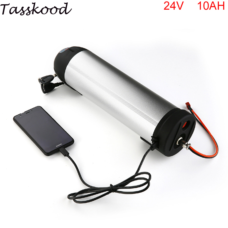 24V 10AH Water bottle ebike battery Lithium Ion kettle Battery for Electric Bike with BMS and controller box+USB port