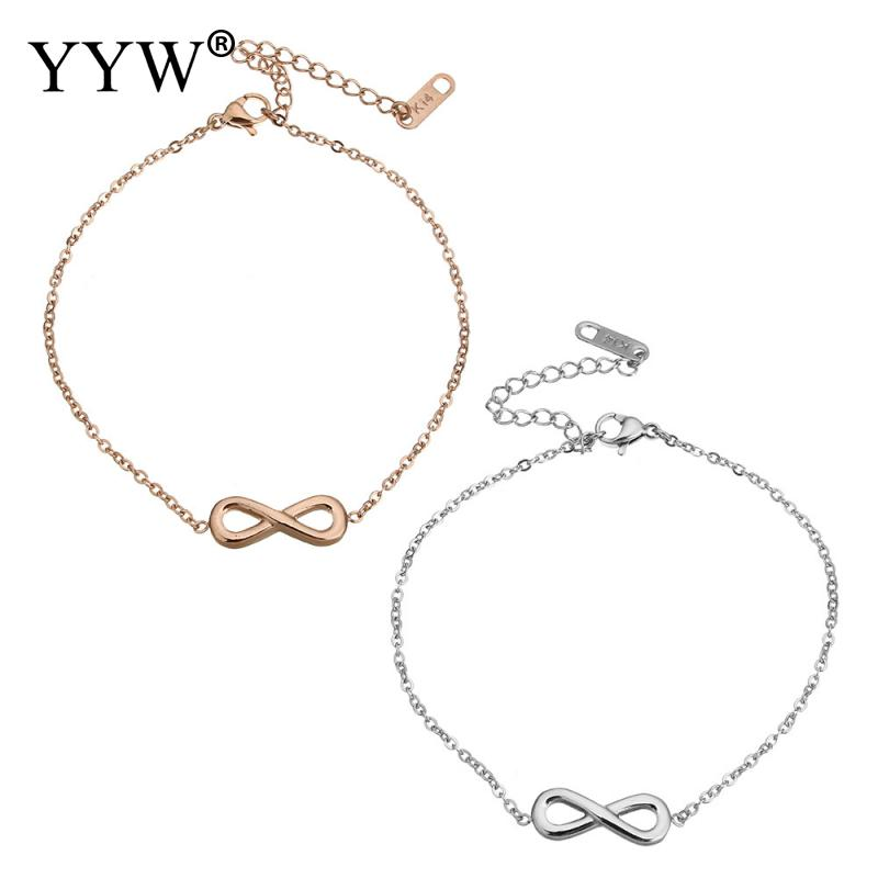 YYW New Punk Fashion Women Male Lover Jewelry Stainless Steel Jewelry Bracelet Simple Geometric Infinity Drop Charm Bracelets