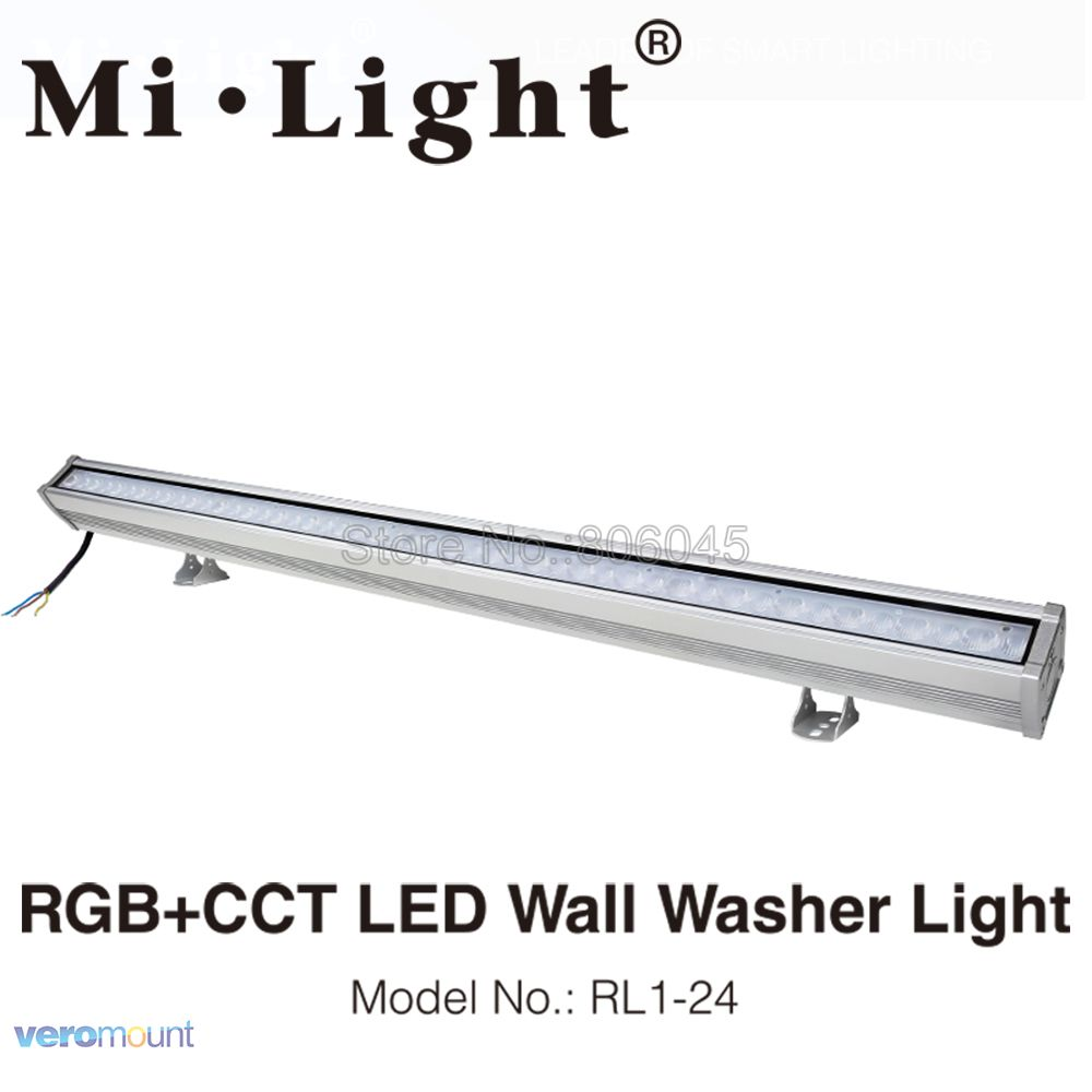 MiLight RL1-24 24W RGB+CCT LED Wall Washer Light IP66 Waterproof Outdoor Light AC110V 220V Dimmable Linear 2.4G Remote WiFi APP