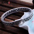 925 silver jewelry vintage thai silver flat knitted twist quartet silver bracelet male the trend of fashion accessories