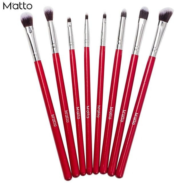 Matto Olho Pincéis de Maquiagem 8 Pcs Pincel de Maquiagem Profissional Definida Cosméticos Sombra Delineador Compõem Ferramentas de Beleza Lápis Escova Kits