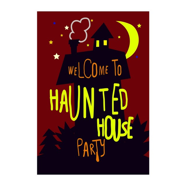 welcome to haunted house halloween party decorative garden flag designed with double sided print outdoor home
