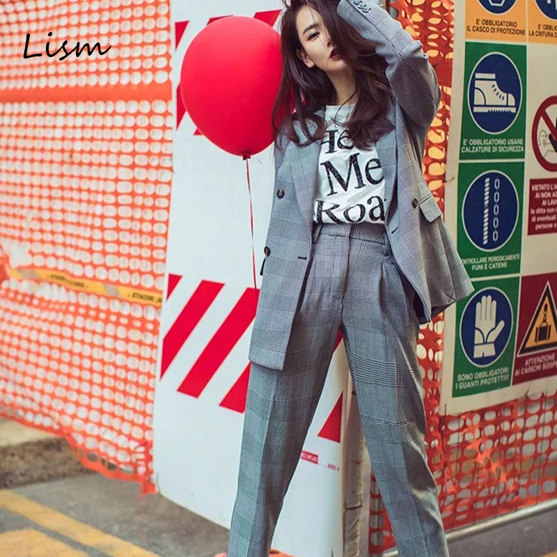 LISM High Street Gray Vintage Plaid Woman Suit 2019 Office Autumn Spring Notched Collar Blazer Jacket&Harem Pant Suits For Women