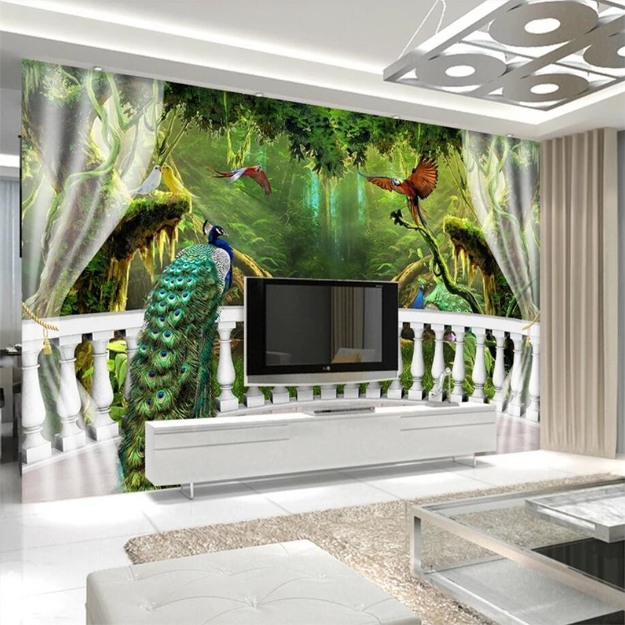 US $8 85 OFF Beibehang Custom Wallpaper 3d Photo Mural Woods Balcony Peacock TV Background Wall Papers Home Decor Papel De Parede