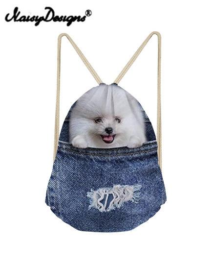Noisydesigns 3D Blue Denim Pocket Pattern Printing Men Drawstring Backpacks Mochila Infantil Kids Girls Cute Animal School Bag