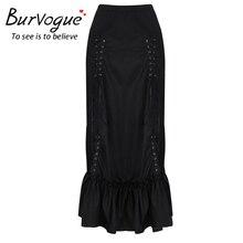 Burvogue Mermaid Skirt Steampunk High Waist Skirts Fashion Long Maxi Skirts Black Three Tiered Satin Gothic Steampunk Skirts