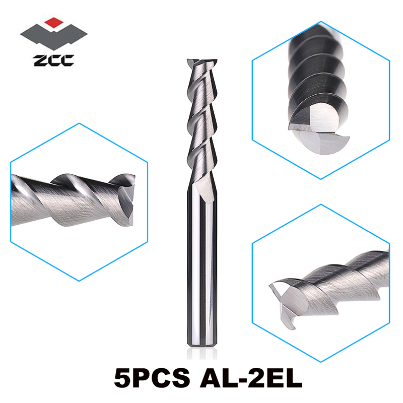 5PCS LOT AL 2EL D3 0 D6 0 ZCC CT solid Carbide 2 flute flattened end