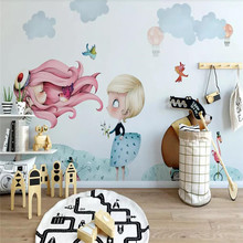Nordic minimalist hand-painted small beauty childrens house wall professional production mural photo wallpaper