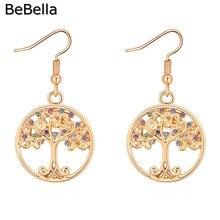 BeBella круглые серьги с подвеской в виде дерева и кристаллов с кристаллами Swarovski, Модный женский подарок на день Святого Валентина
