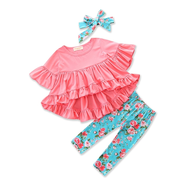 8e721c3661 Toddler Baby Girl Clothes Summer Pink Fashion Irregularity T shirt+Floral  Print Pants+headband 3pcs Kids Clothes Children's Suit-in Clothing Sets  from ...