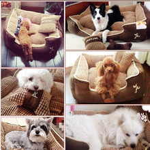 HOOPET Puppy Pet Dog Bed Warming Dog House Soft Materialfa Bric Sofa Warm Winter Give a Pillow