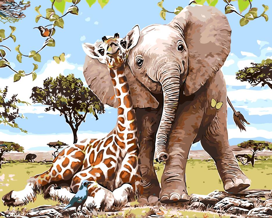 Giraffe Elephant family animals oil painting Room Decor Painting living room Oil Painting picture By Numbers Drawing By Numbers
