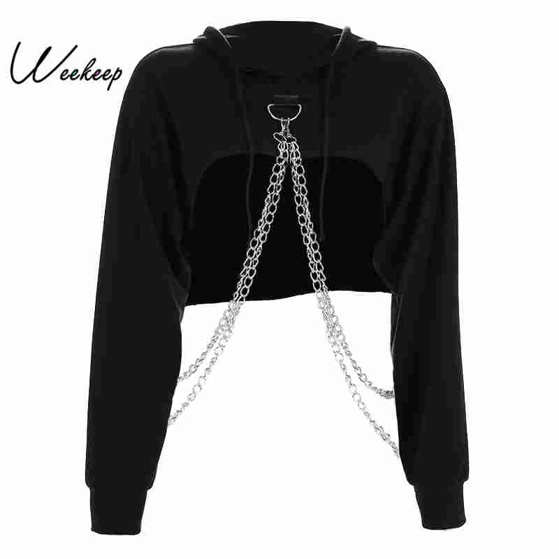 Weekeep Black Cropped Hooded Sweatshirt Women Loose Chain Patchwork Pullover Hoodie Fashion Streetwear Sweat Femme Hoodies Top(China)