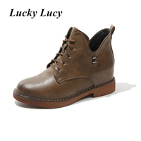 Autumn Winter Genuine Leather Boots High Heels Wedges Ankle Women Boots Height Increasing Lace Up Women