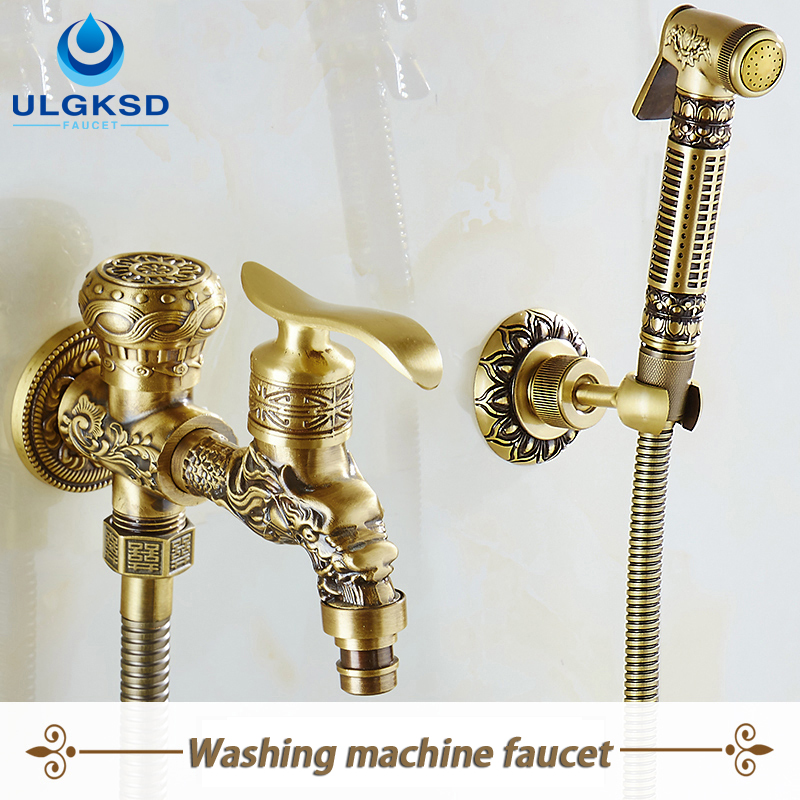 Ulgksd Bathroom Washing Machine Faucet Mixer Taps with Handheld Shower Antique Brass Finish sognare new wall mounted bathroom bath shower faucet with handheld shower head chrome finish shower faucet set mixer tap d5205